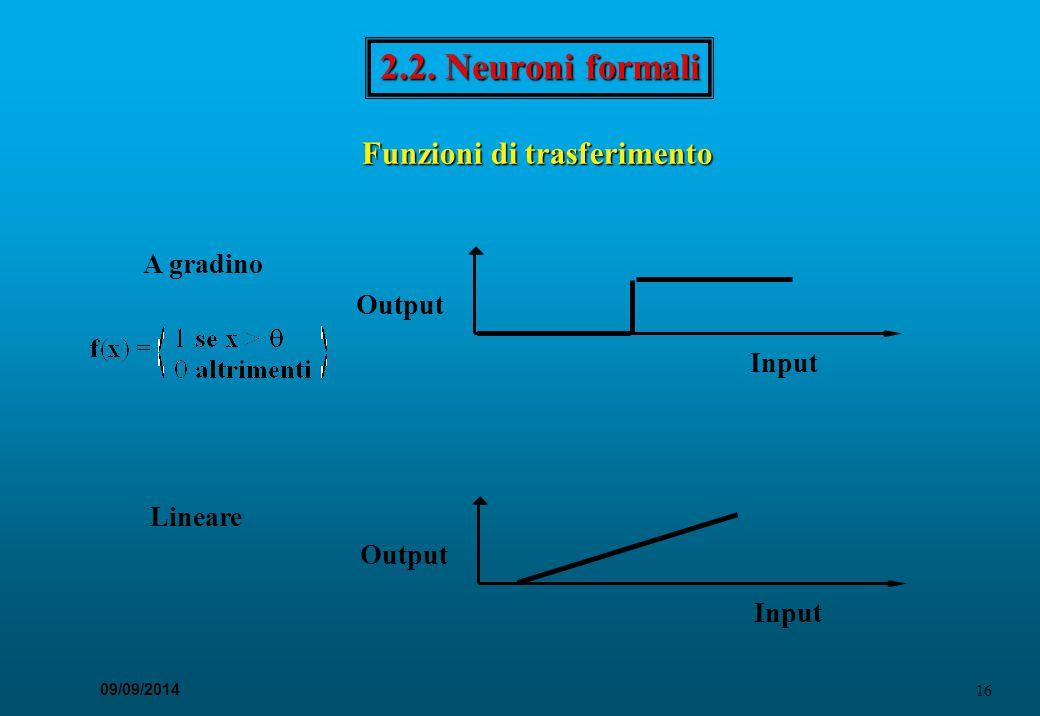 16 09/09/2014 2.2. Neuroni formali A gradino Output Input Output Input Lineare Funzioni di trasferimento