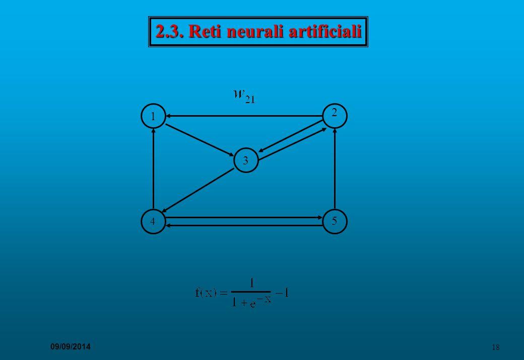 18 09/09/2014 2.3. Reti neurali artificiali 4 3 1 2 5
