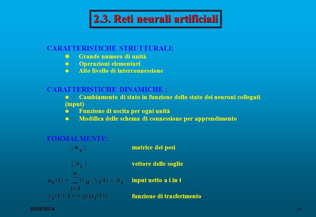 19 09/09/2014 2.3. Reti neurali artificiali CARATTERISTICHE STRUTTURALI: Grande numero di unità Operazioni elementari Alto livello di interconnessione