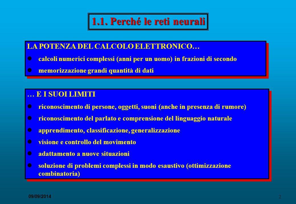 53 09/09/2014 Il problema XOR APPRENDIMENTO NEL PRECETTRONE GEN.