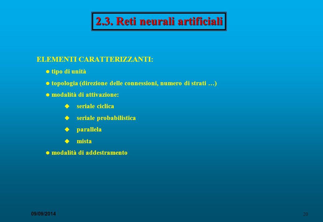 20 09/09/2014 2.3. Reti neurali artificiali ELEMENTI CARATTERIZZANTI: tipo di unità topologia (direzione delle connessioni, numero di strati …) modali