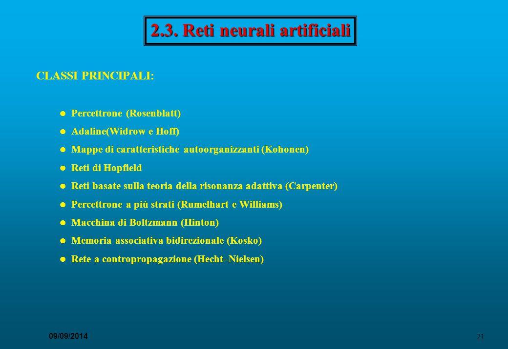 21 09/09/2014 2.3. Reti neurali artificiali CLASSI PRINCIPALI: Percettrone (Rosenblatt) Adaline(Widrow e Hoff) Mappe di caratteristiche autoorganizzan