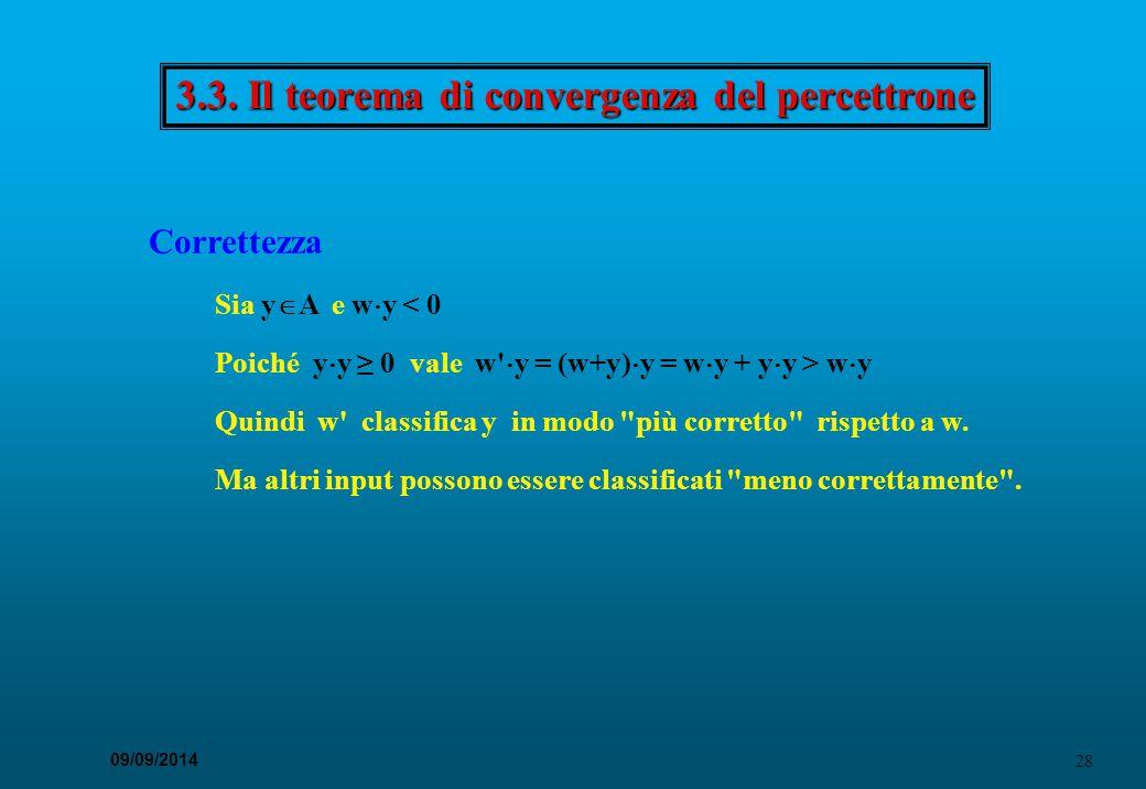 28 09/09/2014 3.3. Il teorema di convergenza del percettrone Correttezza Sia y  A e w  y < 0 Poiché y  y ≥ 0 vale w'  y = (w+y)  y = w  y + y 