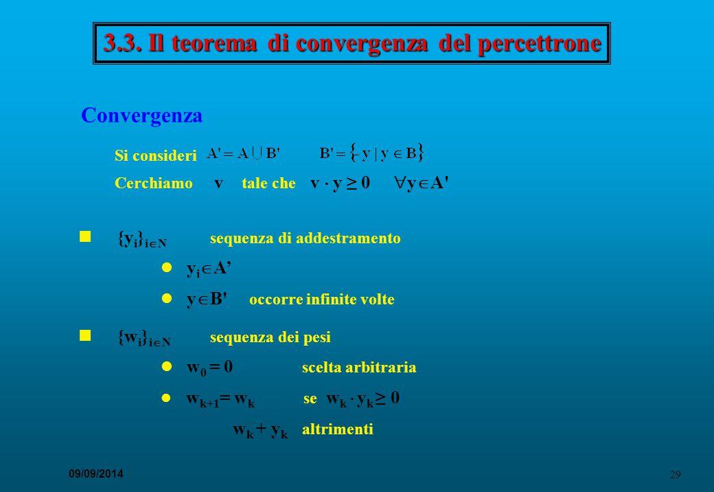 29 09/09/2014 3.3. Il teorema di convergenza del percettrone Convergenza Si consideri Cerchiamo v tale che v  y ≥ 0  y  A' {y i } i  N sequenza di