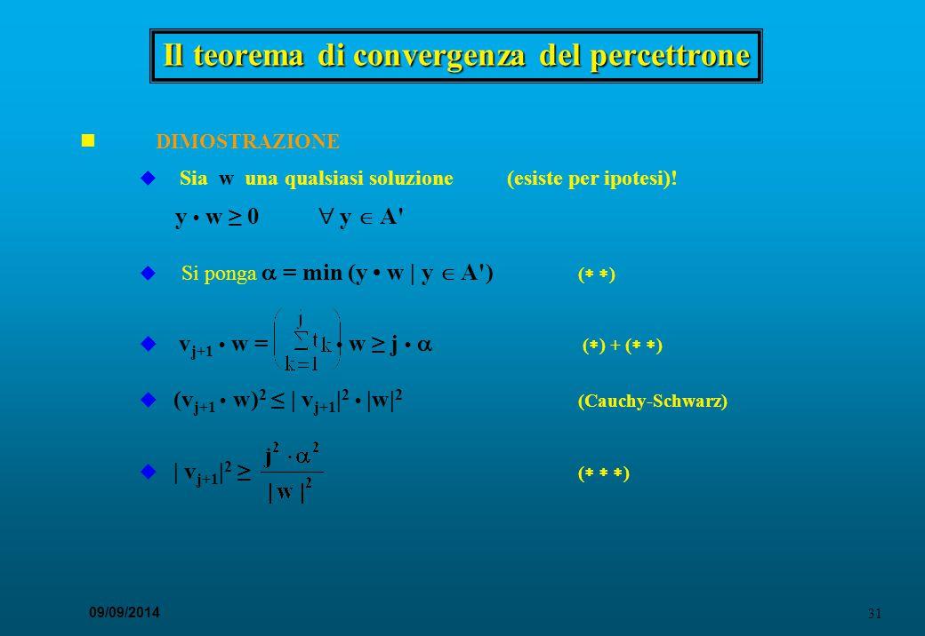 31 09/09/2014 Il teorema di convergenza del percettrone DIMOSTRAZIONE u Sia w una qualsiasi soluzione(esiste per ipotesi)! y w ≥ 0  y  A' u Si ponga