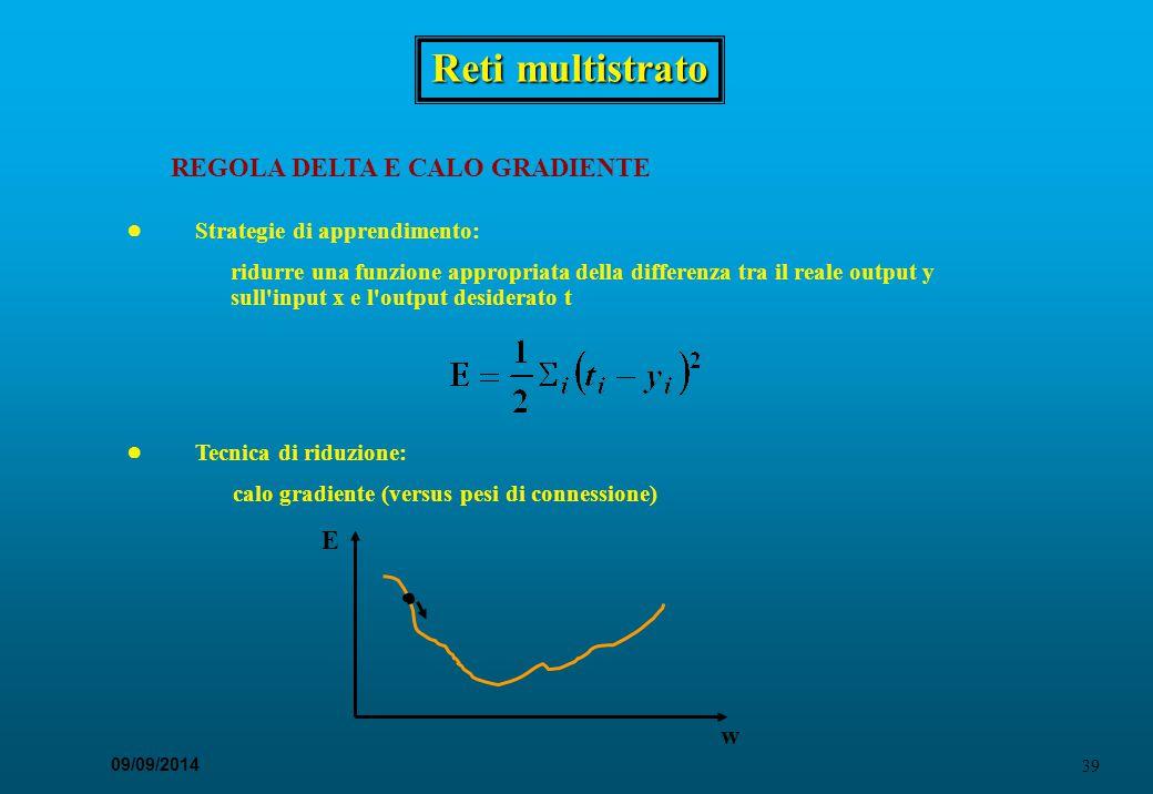 39 09/09/2014 Reti multistrato REGOLA DELTA E CALO GRADIENTE ● Strategie di apprendimento: ridurre una funzione appropriata della differenza tra il re