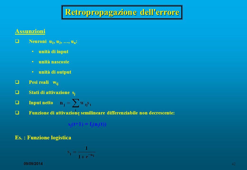 42 09/09/2014 Retropropagazione dell'errore Assunzioni  Neuroni u 1, u 2, …, u n : unità di input unità nascoste unità di output  Pesi reali w ij 