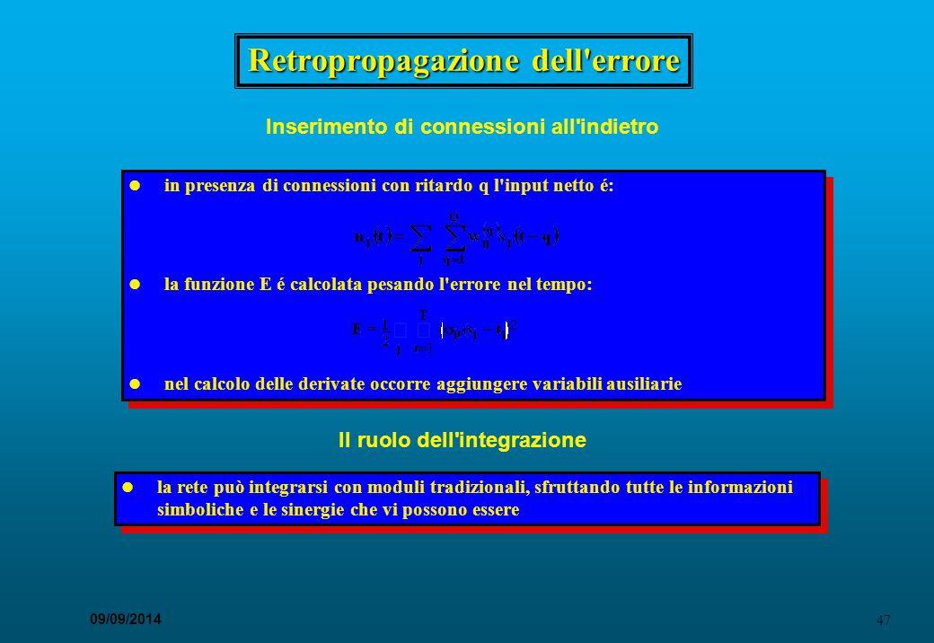 47 09/09/2014 Retropropagazione dell'errore Il ruolo dell'integrazione in presenza di connessioni con ritardo q l'input netto é: la funzione E é calco