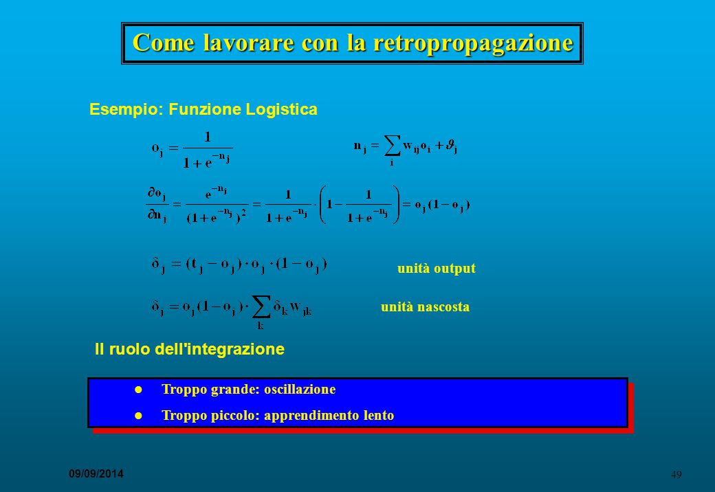 49 09/09/2014 Come lavorare con la retropropagazione Esempio: Funzione Logistica unità output unità nascosta Il ruolo dell'integrazione l Troppo grand