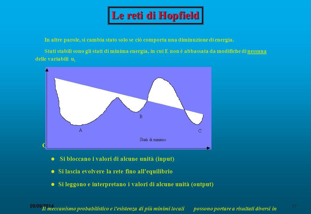 57 09/09/2014 Le reti di Hopfield In altre parole, si cambia stato solo se ciò comporta una diminuzione di energia. Stati stabili sono gli stati di mi