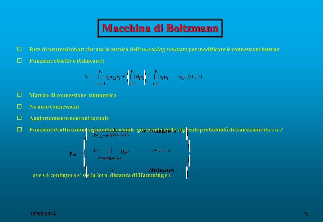 58 09/09/2014 Macchina di Boltzmann  Rete di neuroni binari che usa la tecnica dell'annealing simulato per modificare le connessioni interne  Funzio