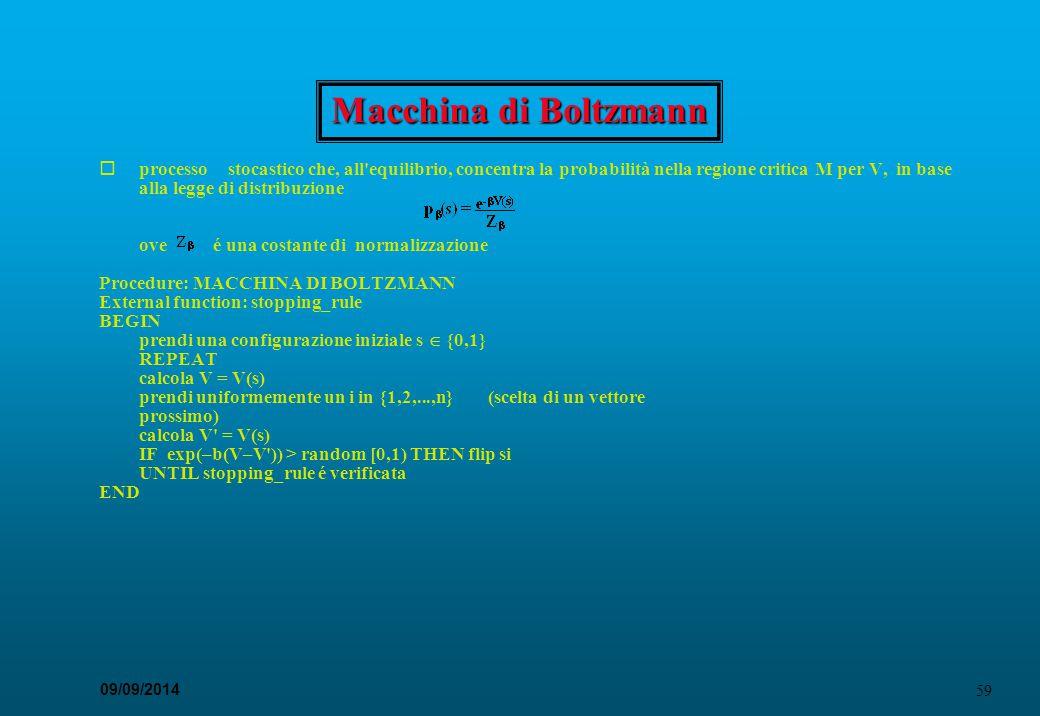 59 09/09/2014 Macchina di Boltzmann  processo  stocastico che, all'equilibrio, concentra la probabilità nella regione critica M per V, in base alla