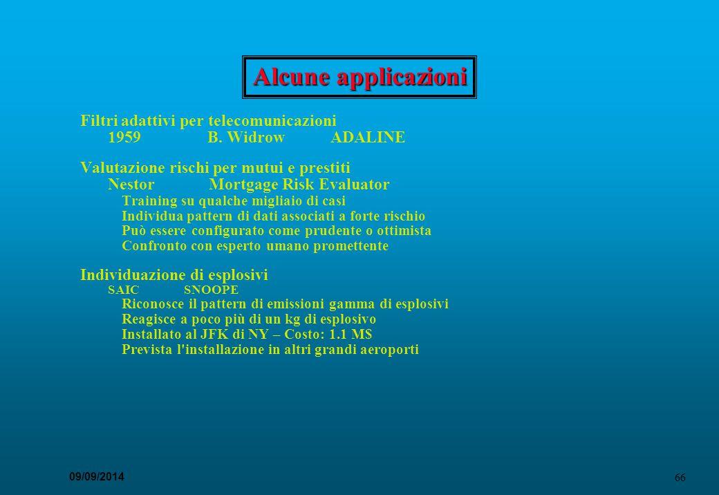 66 09/09/2014 Alcune applicazioni Filtri adattivi per telecomunicazioni 1959 B. Widrow ADALINE Valutazione rischi per mutui e prestiti Nestor Mortgage
