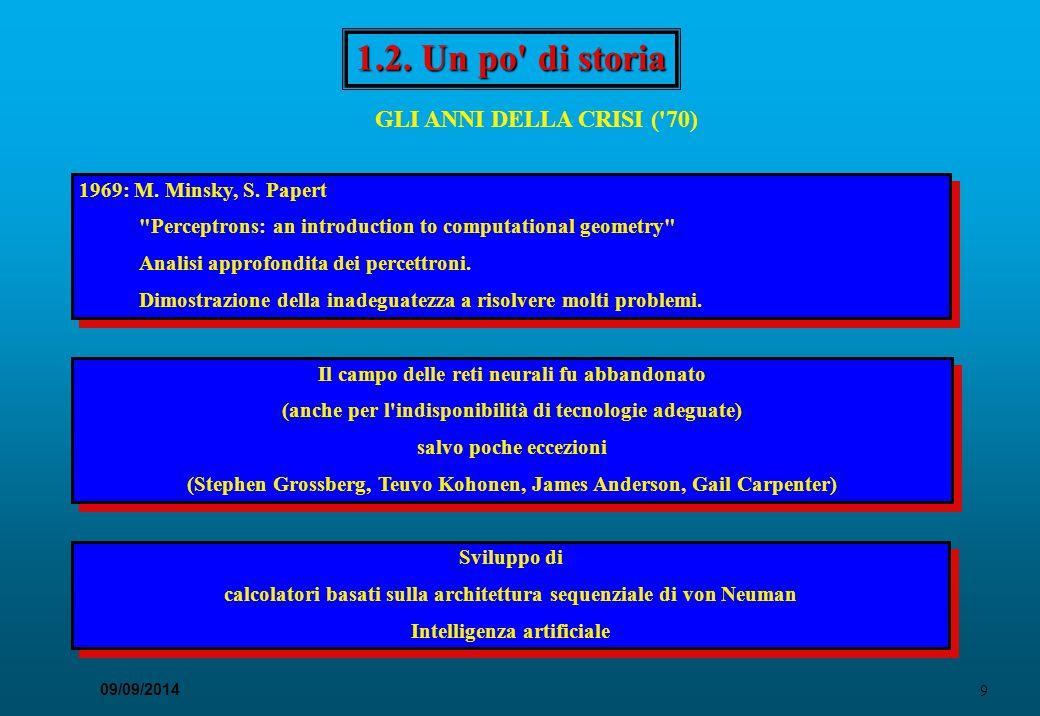9 09/09/2014 1.2. Un po' di storia GLI ANNI DELLA CRISI ('70) Il campo delle reti neurali fu abbandonato (anche per l'indisponibilità di tecnologie ad