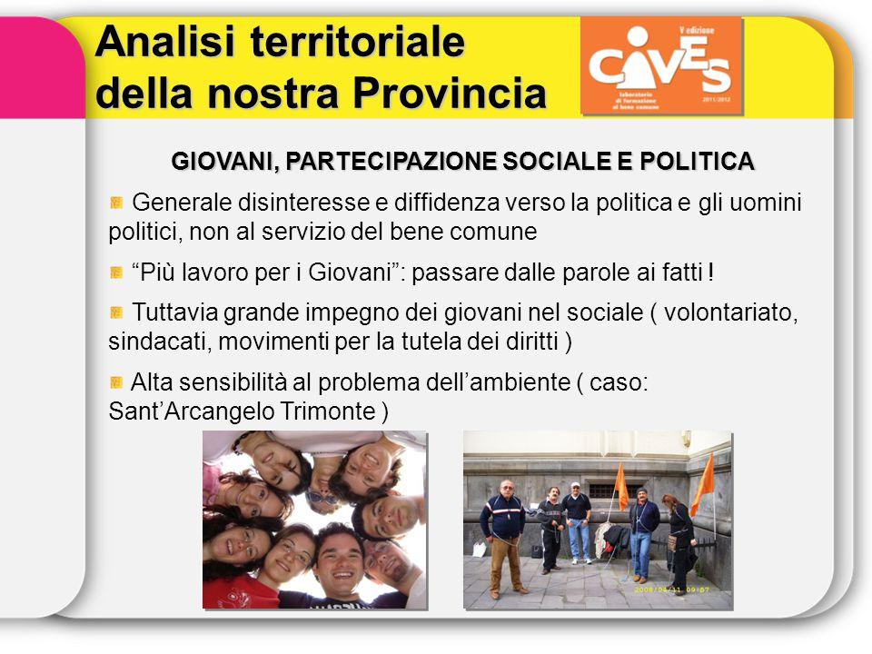 Analisi territoriale della nostra Provincia GIOVANI, PARTECIPAZIONE SOCIALE E POLITICA Generale disinteresse e diffidenza verso la politica e gli uomi