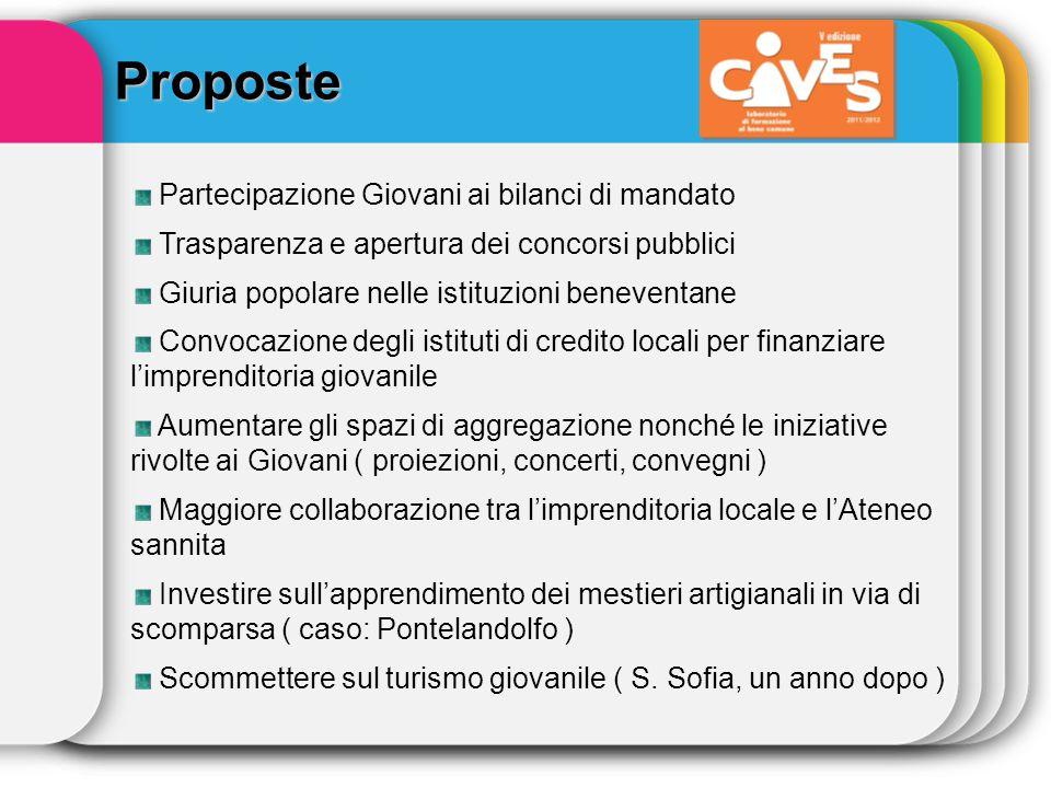 Proposte Partecipazione Giovani ai bilanci di mandato Trasparenza e apertura dei concorsi pubblici Giuria popolare nelle istituzioni beneventane Convo