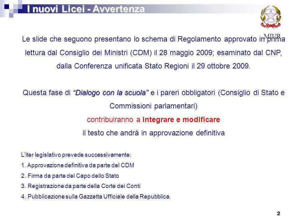 MIUR I nuovi Licei - Avvertenza 2 Le slide che seguono presentano lo schema di Regolamento approvato in prima lettura dal Consiglio dei Ministri (CDM)
