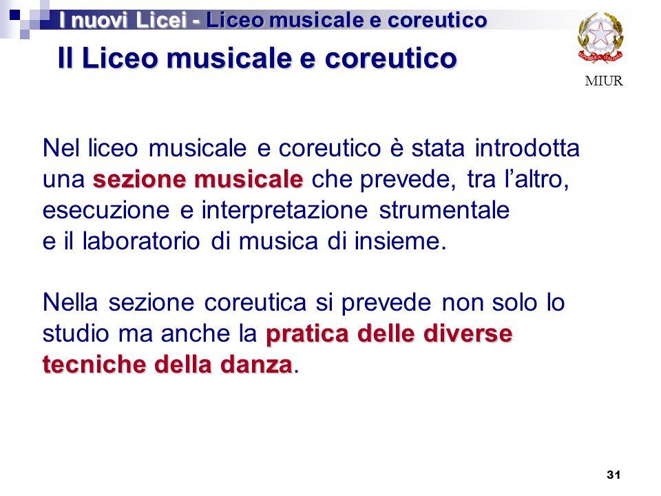 31 MIUR Il Liceo musicale e coreutico sezione musicale Nel liceo musicale e coreutico è stata introdotta una sezione musicale che prevede, tra l'altro