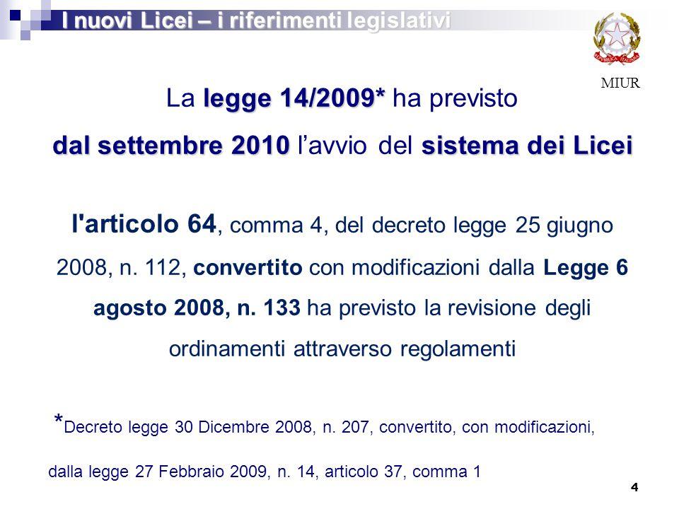 MIUR legge 14/2009* La legge 14/2009* ha previsto dal settembre 2010sistema dei Licei dal settembre 2010 l'avvio del sistema dei Licei l'articolo 64,