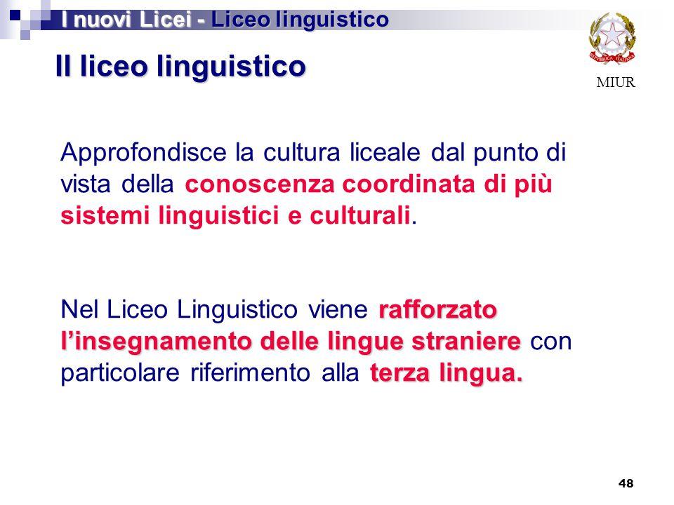 48 MIUR Il liceo linguistico Approfondisce la cultura liceale dal punto di vista della conoscenza coordinata di più sistemi linguistici e culturali. r