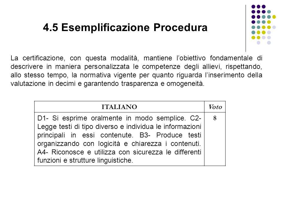 4.5 Esemplificazione Procedura La certificazione, con questa modalità, mantiene l'obiettivo fondamentale di descrivere in maniera personalizzata le competenze degli allievi, rispettando, allo stesso tempo, la normativa vigente per quanto riguarda l'inserimento della valutazione in decimi e garantendo trasparenza e omogeneità.