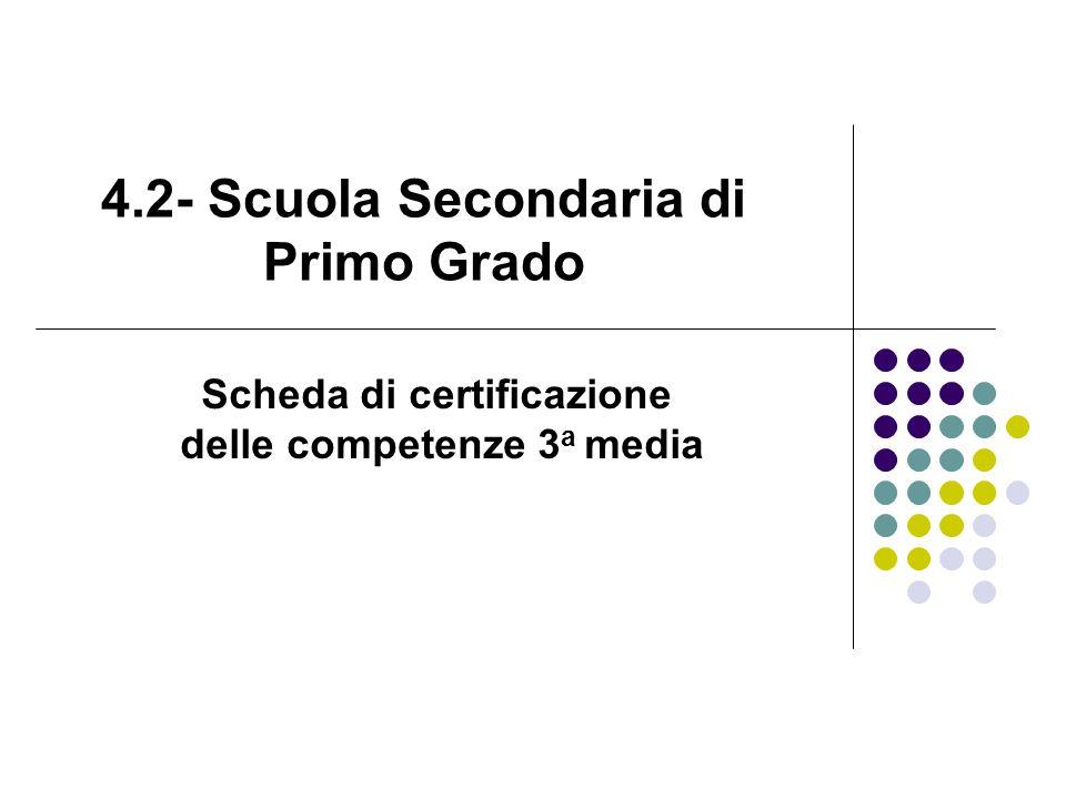 4.2- Scuola Secondaria di Primo Grado Scheda di certificazione delle competenze 3 a media