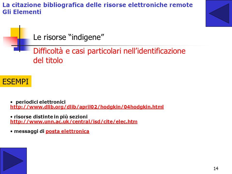 13 Hypertext HEADER DOVE INDIVIDUARE IL TITOLO Osserva la zona dell' HEADER La citazione bibliografica delle risorse elettroniche remote Gli Elementi