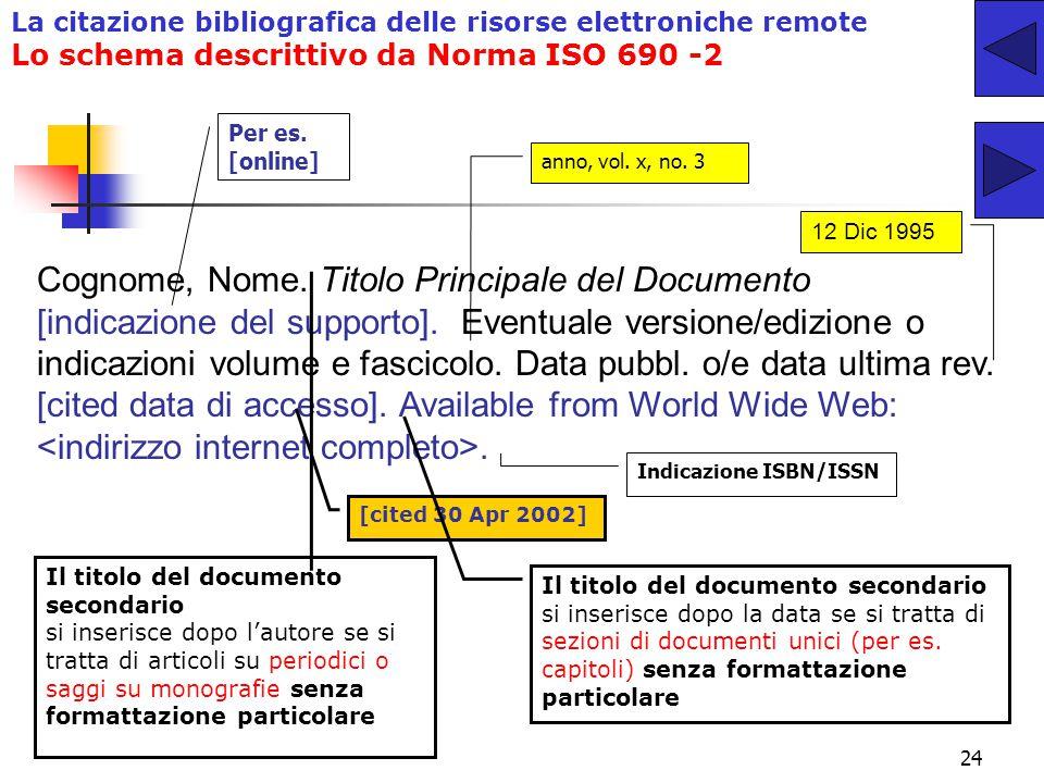 23 La citazione bibliografica delle risorse elettroniche remote Lo Stile Columbia in ambito umanistico La norma ISO 690-2 e il Columbia Style a confro
