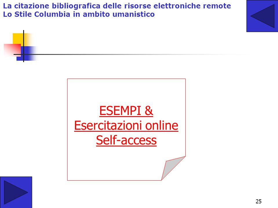 24 La citazione bibliografica delle risorse elettroniche remote Lo schema descrittivo da Norma ISO 690 -2 Cognome, Nome. Titolo Principale del Documen