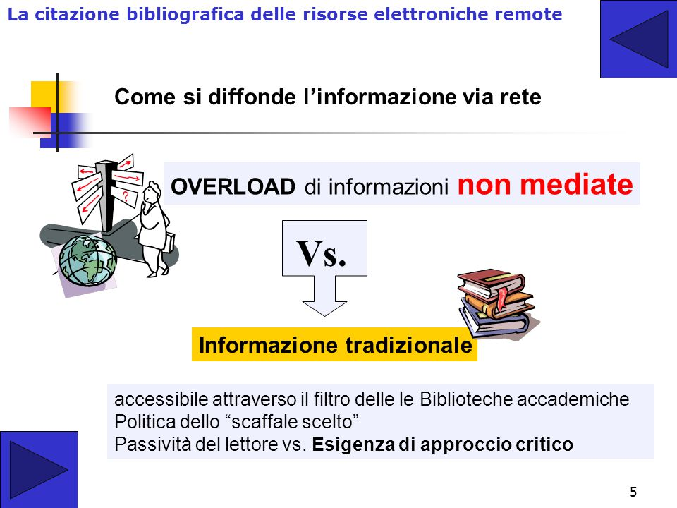5 Come si diffonde l'informazione via rete OVERLOAD di informazioni non mediate accessibile attraverso il filtro delle le Biblioteche accademiche Politica dello scaffale scelto Passività del lettore vs.