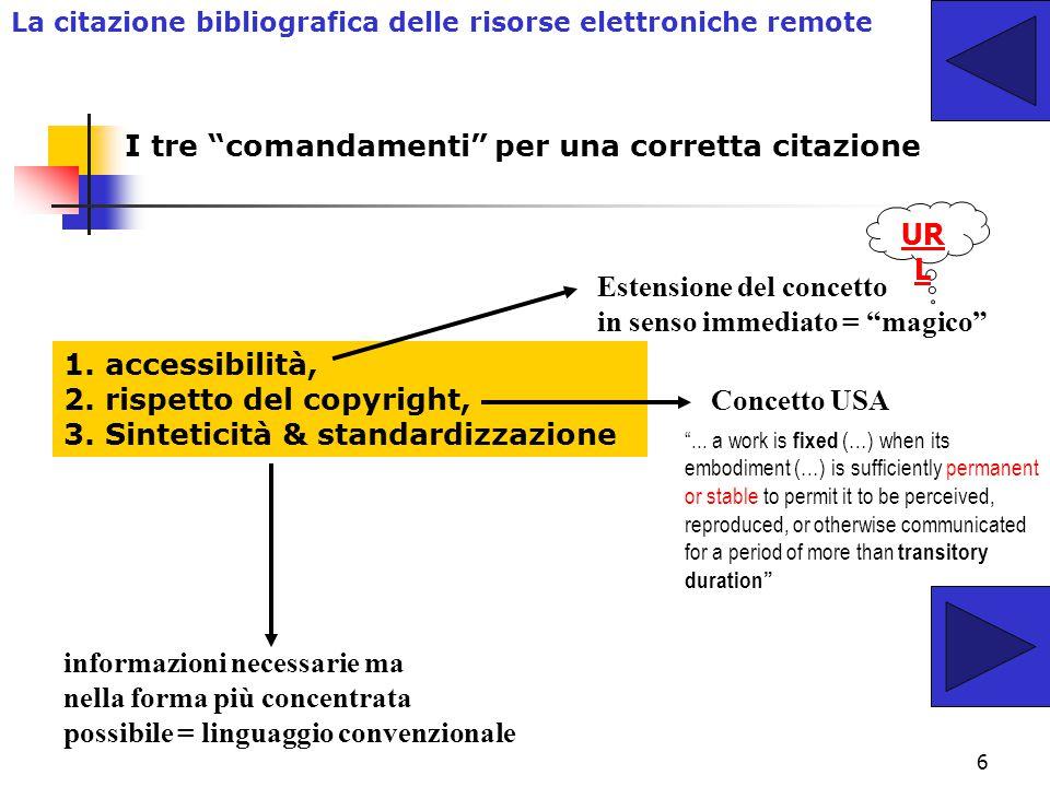 6 1.accessibilità, 2. rispetto del copyright, 3.