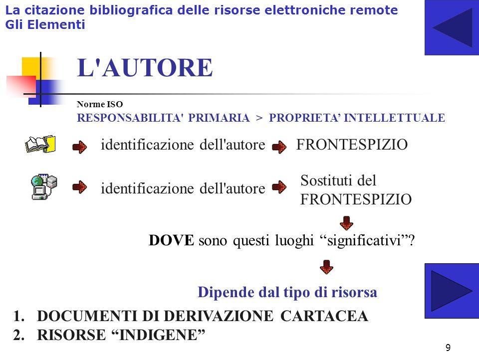 19 La citazione bibliografica delle risorse elettroniche remote LO STILE DELLA CITAZIONE In ambito umanistico