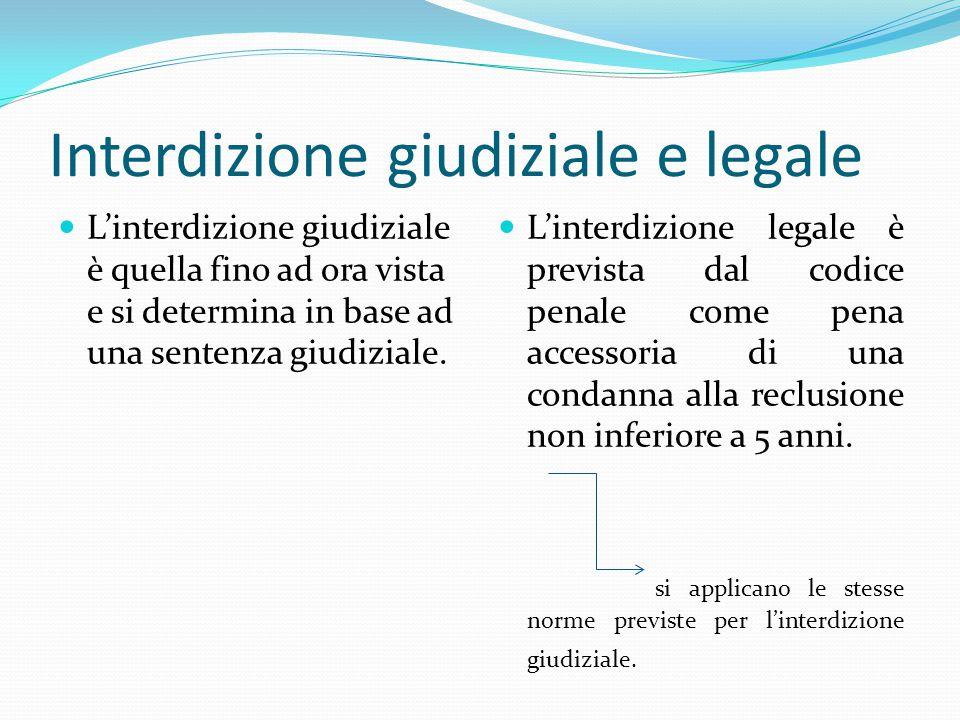Interdizione giudiziale e legale L'interdizione giudiziale è quella fino ad ora vista e si determina in base ad una sentenza giudiziale. L'interdizion