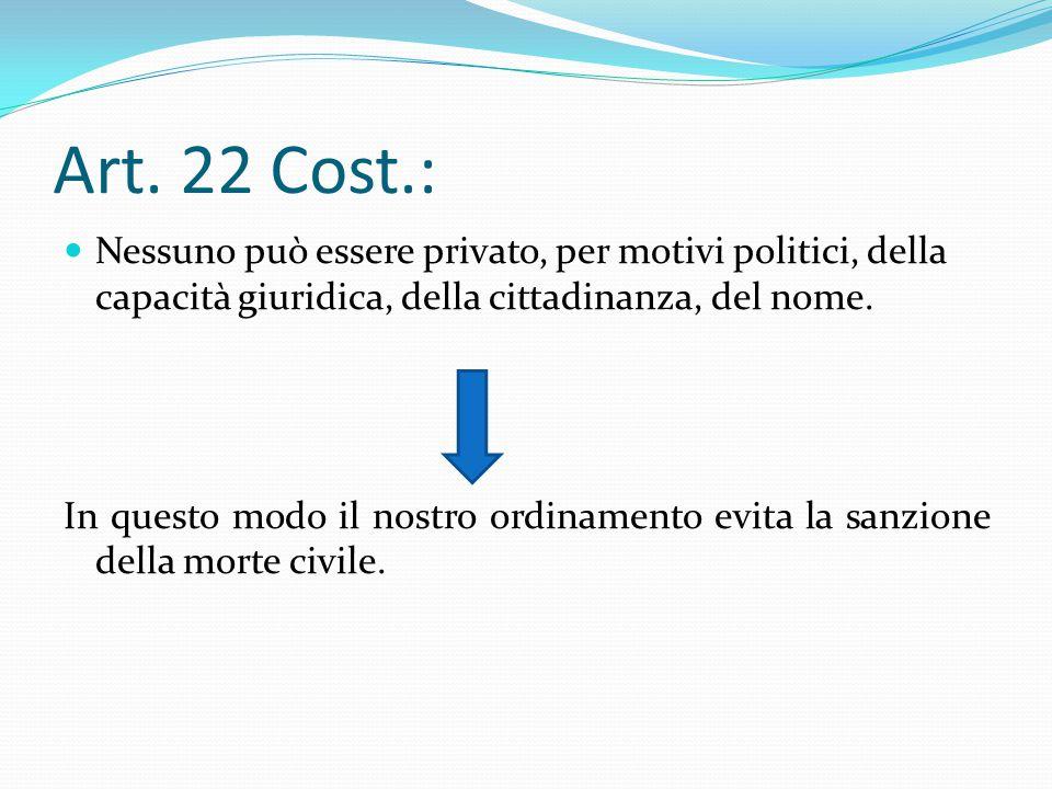 Art. 22 Cost.: Nessuno può essere privato, per motivi politici, della capacità giuridica, della cittadinanza, del nome. In questo modo il nostro ordin