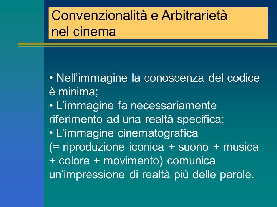Conventionnalité et Arbitrairieté dans le cinéma Dans l'image la connaissance du code est minimale ; L'image fait necessairment reference à une réalité specifique ; L'image cinematographique (=reproduction iconique + son + musique + couleur + mouvement) communique un impression de la réalité par rapport des mots.