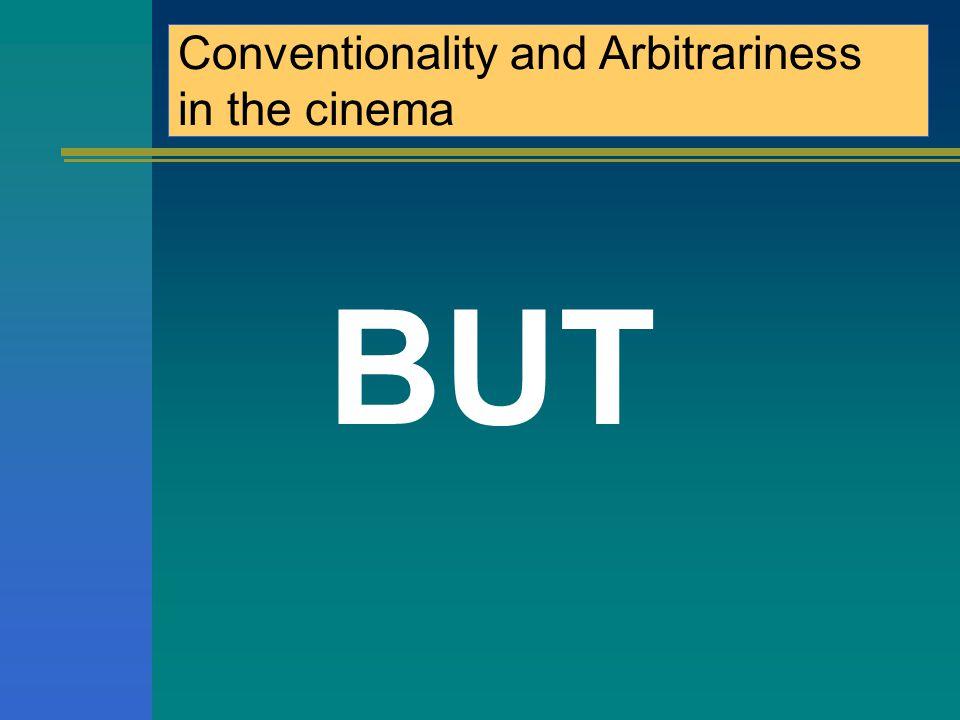 Convenzionalità e Arbitrarietà nel cinema Nell'immagine la conoscenza del codice è minima; L'immagine fa necessariamente riferimento ad una realtà specifica; L'immagine cinematografica (= riproduzione iconica + suono + musica + colore + movimento) comunica un'impressione di realtà più delle parole.