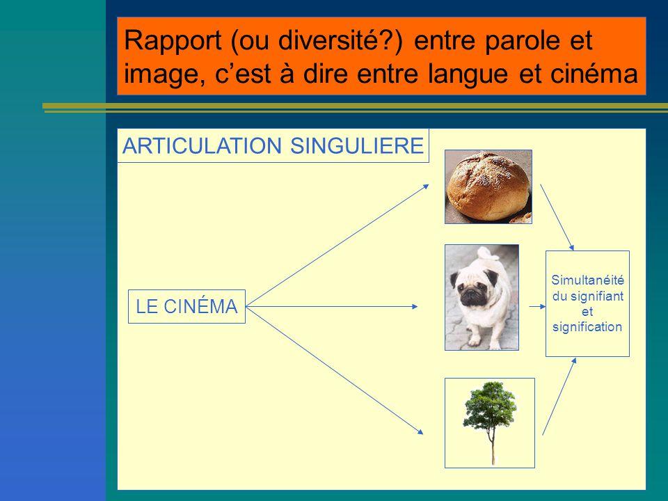 ARTICULATION SINGULIERE LE CINÉMA Rapport (ou diversité?) entre parole et image, c'est à dire entre langue et cinéma Simultanéité du signifiant et signification