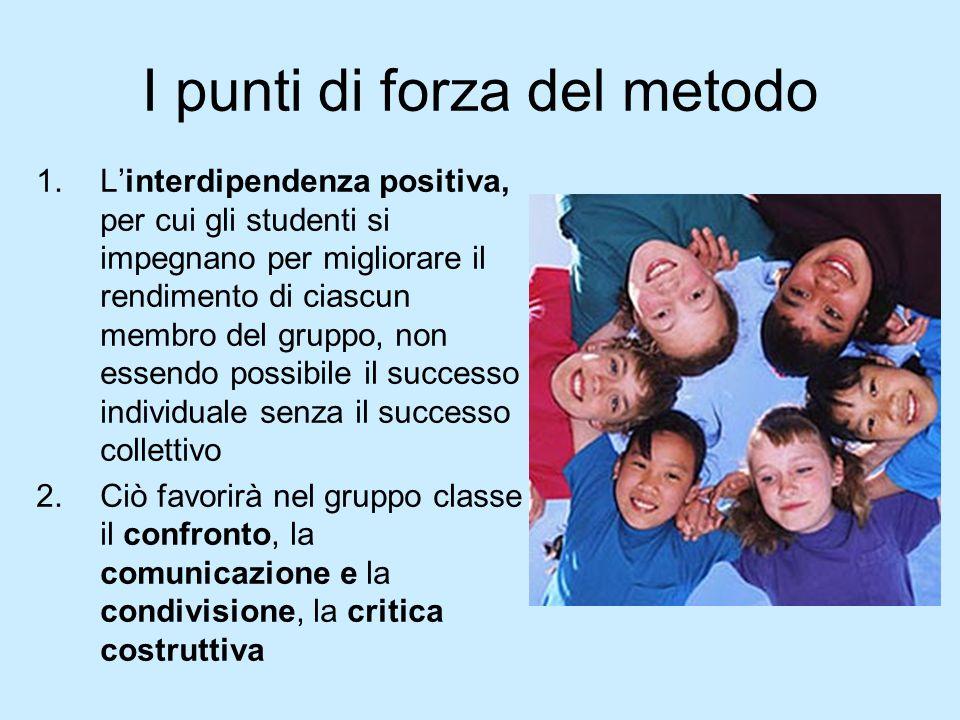 I punti di forza del metodo 1.L'interdipendenza positiva, per cui gli studenti si impegnano per migliorare il rendimento di ciascun membro del gruppo,