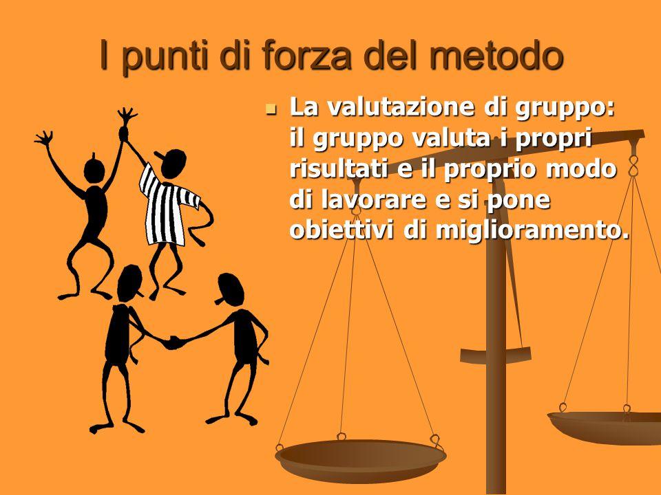 I punti di forza del metodo La valutazione di gruppo: il gruppo valuta i propri risultati e il proprio modo di lavorare e si pone obiettivi di miglior
