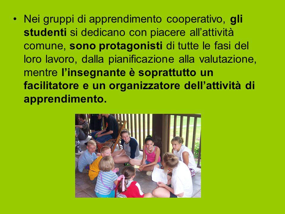 Nel gruppo si attiva l'interdipendenza, la responsabilità individuale, l'interazione faccia a faccia, l'uso appropriato delle abilità nella collaborazione, la valutazione del lavoro Con il Cooperative learning si educa alla convivenza sociale, alla risoluzione dei conflitti, alla soluzione dei problemi