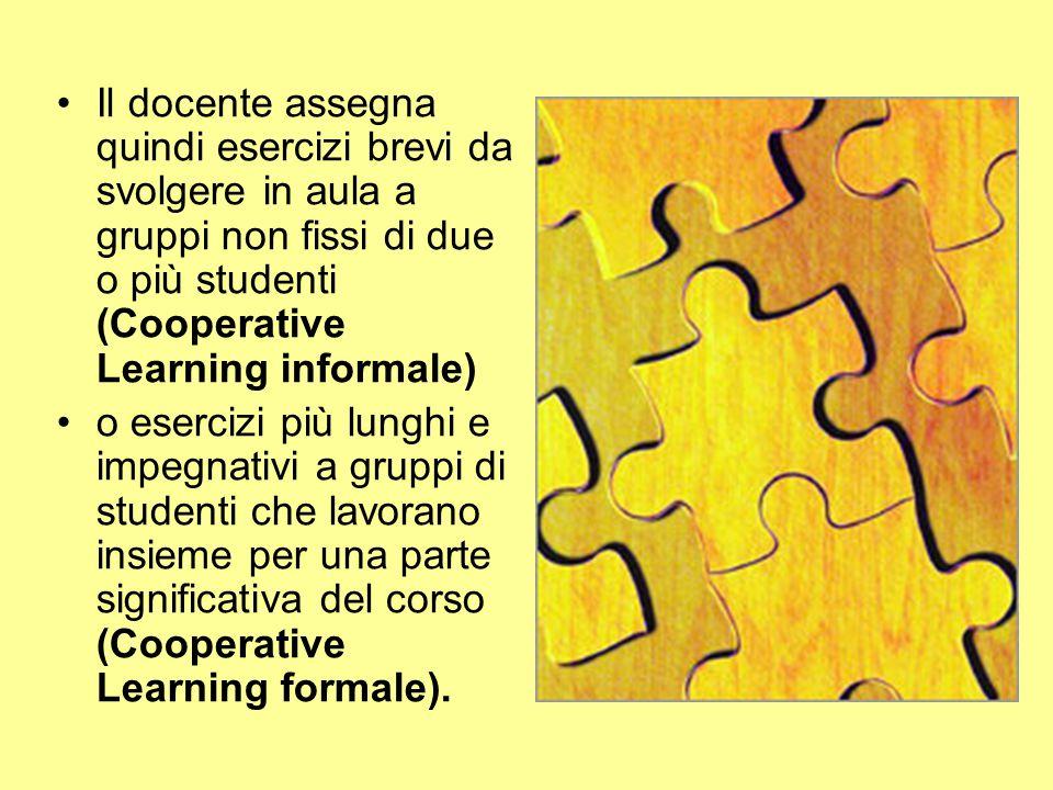 Il docente assegna quindi esercizi brevi da svolgere in aula a gruppi non fissi di due o più studenti (Cooperative Learning informale) o esercizi più