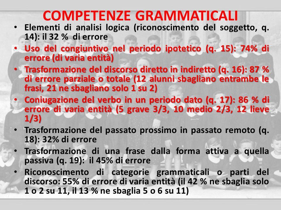 COMPETENZE GRAMMATICALI Elementi di analisi logica (riconoscimento del soggetto, q. 14): il 32 % di errore Uso del congiuntivo nel periodo ipotetico (