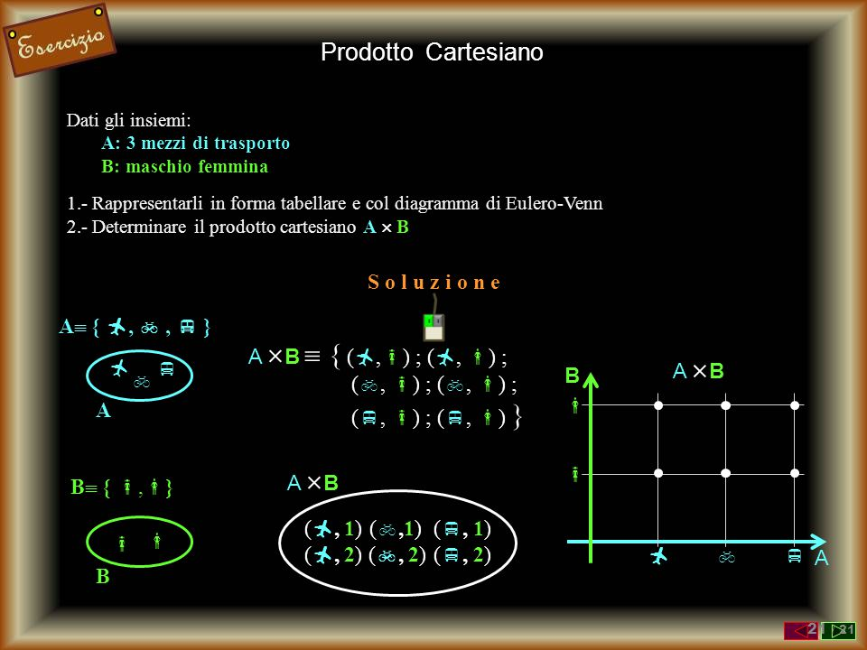Dati gli insiemi: A: 3 mezzi di trasporto B: maschio femmina 1.- Rappresentarli in forma tabellare e col diagramma di Eulero-Venn 2.- Determinare il p