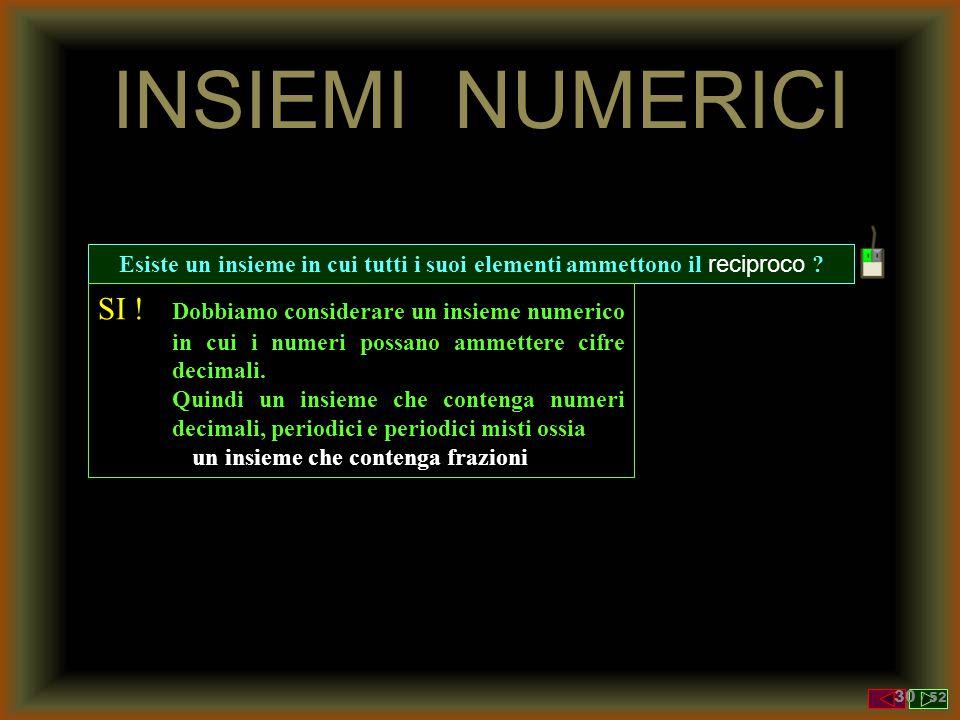 RECIPROCO Il RECIPROCO di un numero è 1 diviso il numero stesso Reciproco di a = 1/a In N o in Z esiste il reciproco ? NO ! Perché sia N che Z sono in
