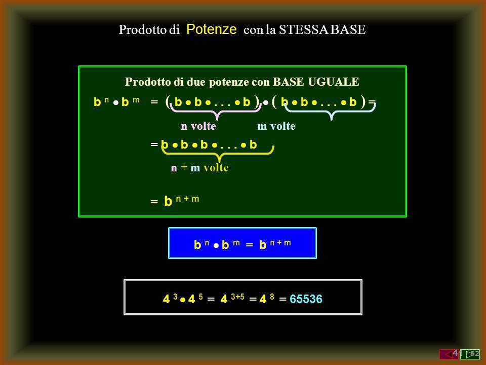 Potenza - Definizione L'operazione b e si legge: b elevato a e indica: l'operazione di elevazione a potenza il numero b è detto base il numero e è det