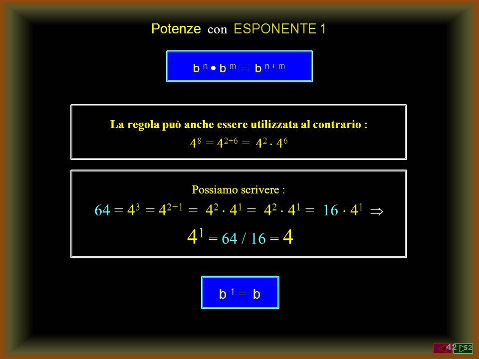 Prodotto di Potenze con la STESSA BASE Prodotto di due potenze con BASE UGUALE b n  b m = ( b  b ...  b )  ( b  b ...  b ) = n volte m volte =