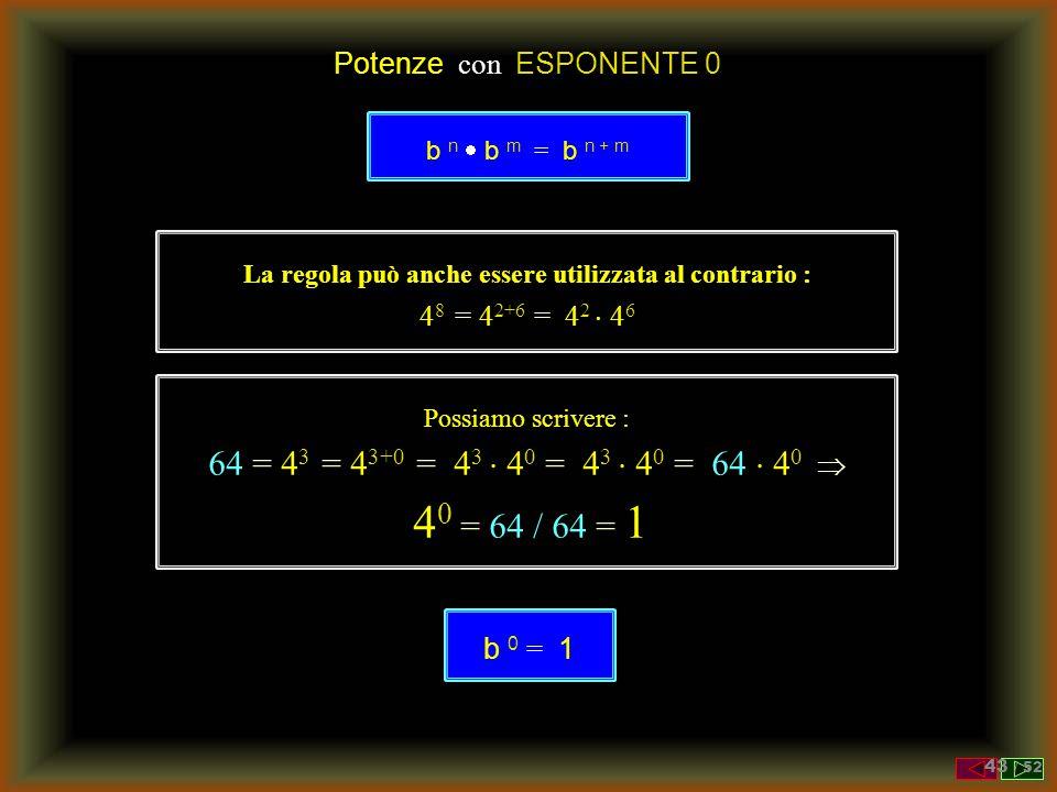 Potenze con ESPONENTE 1 La regola può anche essere utilizzata al contrario : 4 8 = 4 2+6 = 4 2  4 6 b n  b m = b n + m Possiamo scrivere : 64 = 4 3