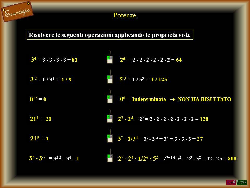 Potenze un Caso TERRRRIFICANNNNTE Sappiamo che 0 0 0 : INDETERMINATA 0 n = 0 b 0 = 1 0 0 = 0 1 ? 44 / 52