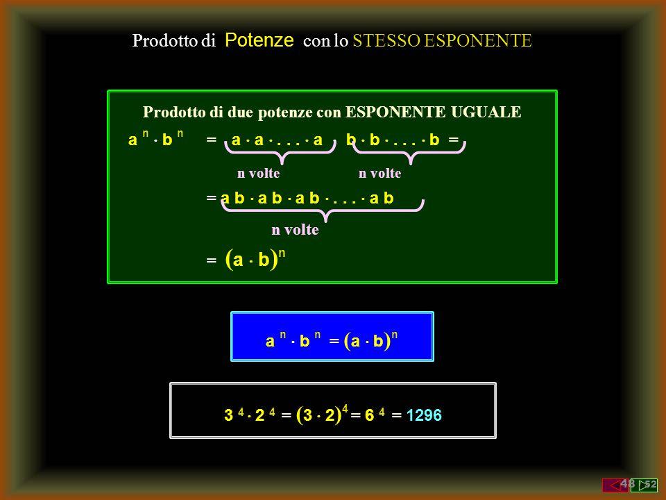 Potenze Risolvere le seguenti operazioni applicando le proprietà viste ( 3 2 ) 3 = 3 2  3 = 3 6 = 729 ( 2 2 ) 4 = 2 2  4 = 2 8 = 256 ( 1/3 2 ) 3 = 1