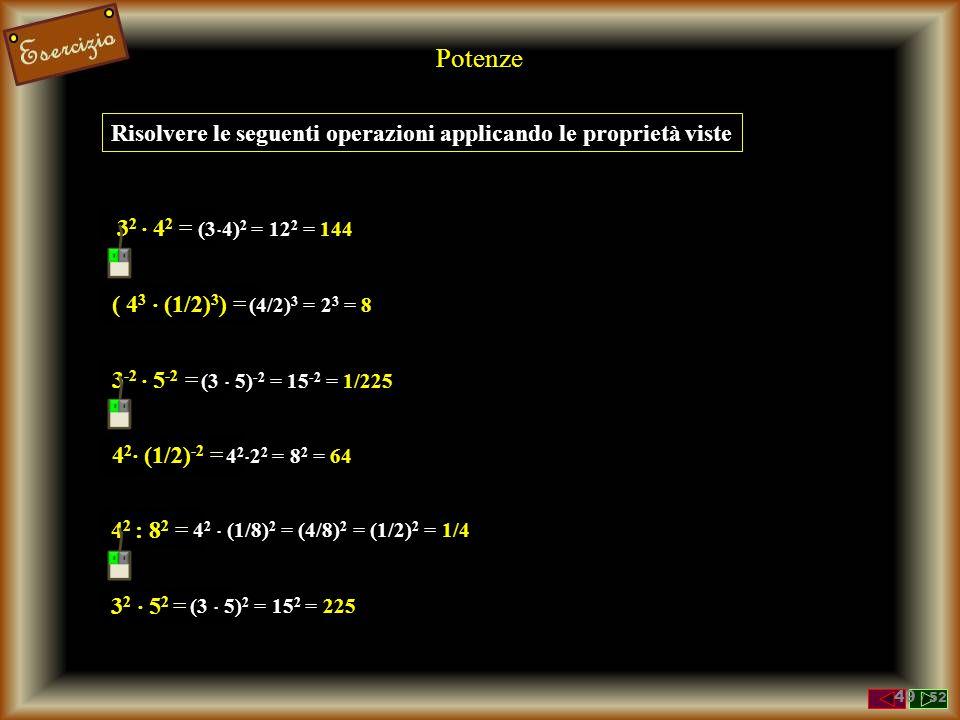 Prodotto di Potenze con lo STESSO ESPONENTE Prodotto di due potenze con ESPONENTE UGUALE a n  b n = a  a ...  a  b  b ...  b = n volte n volte